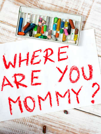 adopting: colorful drawing: where are you mommy Stock Photo