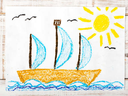 sailing boat: colorful drawing: sailing boat  in the sea