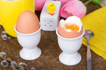 eggcup: Easter breakfast - soft boiled eggs