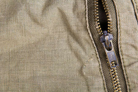 tiefe: Nahaufnahme von einem Metall-Reißverschluss - geringe Schärfentiefe