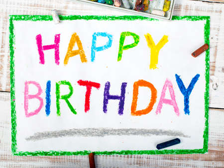 text background: colorful drawing: happy birthday card Stock Photo