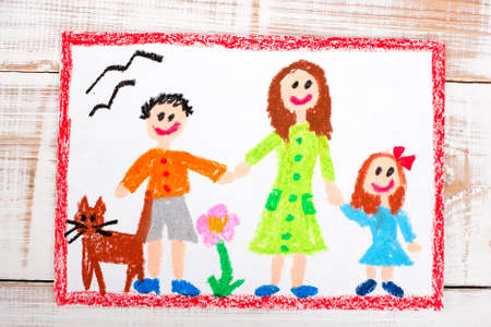 single mother: oil pastels drawing: single mother and kids Stock Photo
