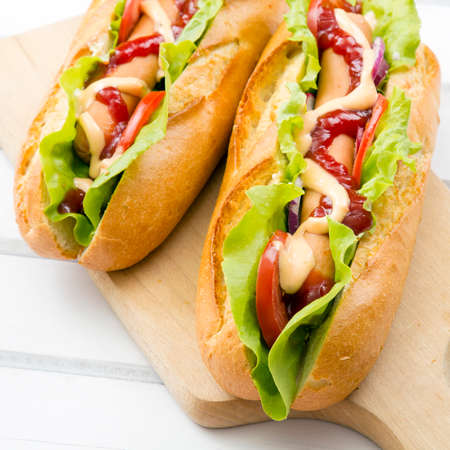 hot dog: hot dogs on a wooden table Stock Photo