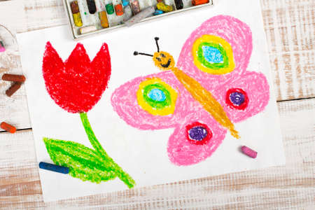 red pink: colorful drawing: happy butterfly and beautiful tulip