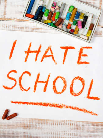 hate: colorful drawing: I  hate school