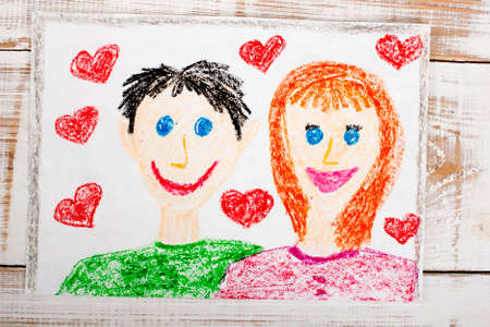 happy couple: happy couple: colorful drawing