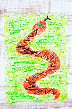 watercolour painting: colorful drawing: snake in the grass Stock Photo