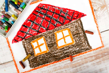 red roof: colorful drawing: a house with a red roof