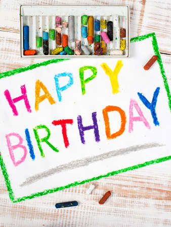 happy people: colorful drawing: happy birthday card Stock Photo
