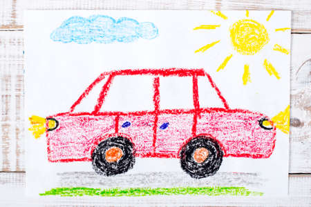 crayon: colorful drawing: red car
