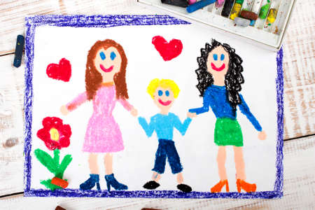 homosexual sex: drawing of a happy couple of lesbians and adopted child