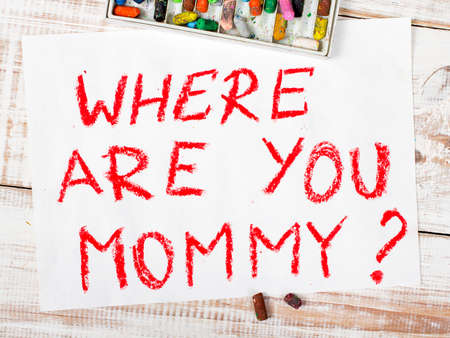 kidnapping: colorful drawing: where are you mommy Stock Photo