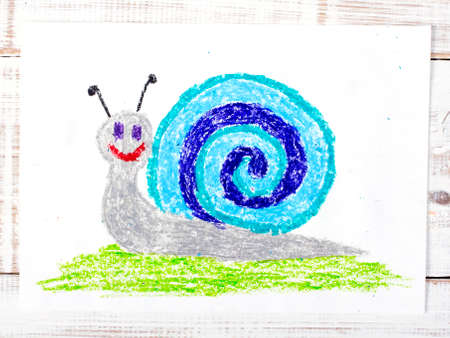happy people white background: colorful drawing: snail with a shell Stock Photo