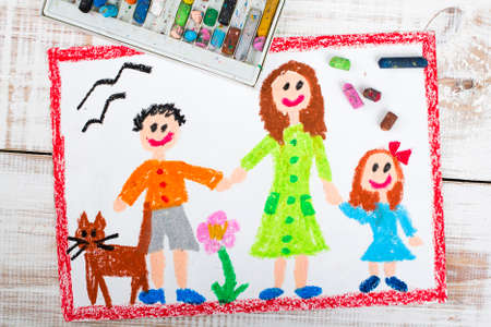 oil pastels drawing: single mother and kids Stock Photo
