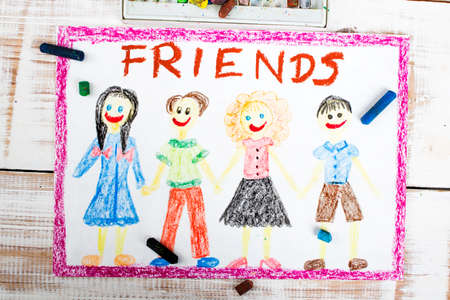 youthful: drawing of a group of friends Stock Photo