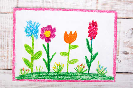sketch child: colorful drawing: beautiful flowers