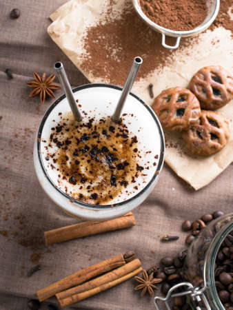 chocolate sprinkles: coffee latte with chocolate sprinkles