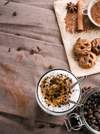 chocolate sprinkles: coffee latte with chocolate sprinkles