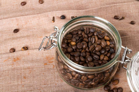 turkish coffee: Closeup of a coffee beans in transparent jar