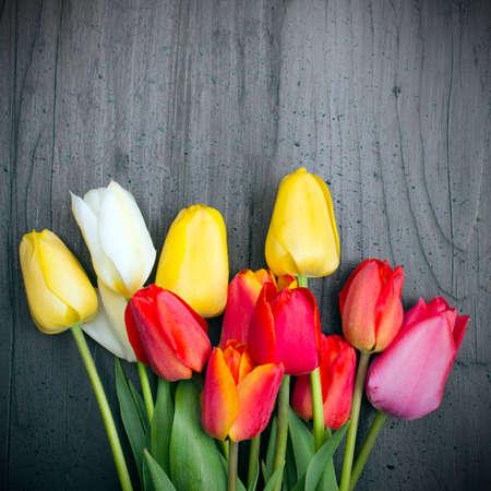 bouquet fleur: bouquet de tulipes sur fond de bois sombre