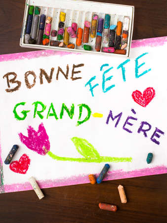 grand kid: Colorful drawing: grandmothers day card drawn by a French child