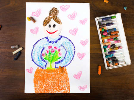 grand parents: Color drawing: grandmothers day card drawn by a Polish child