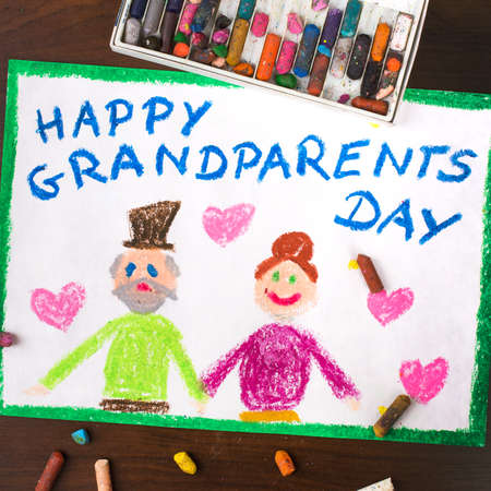 family human: Colorful drawing: grandparents day card