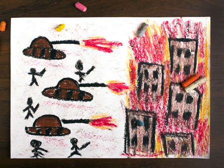 the end of the world: colorful drawing: tanks attack
