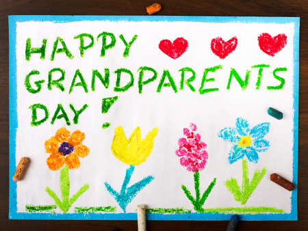 older couple: Colorful drawing: grandparents day card