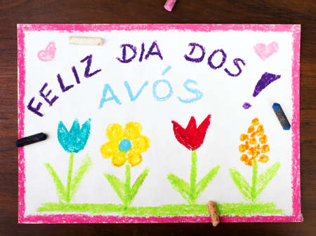 grand child: Colorful drawing: grandmothers day card drawn by a Portuguese child