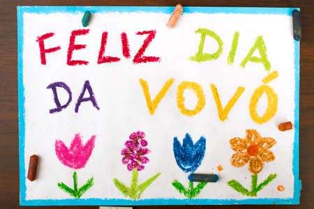 grand parents: Colorful drawing: grandmothers day card drawn by a Portuguese child