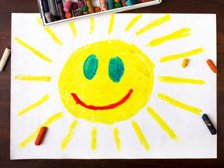 face  illustration: colorful drawing: sun with a happy face Stock Photo