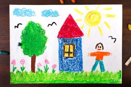 peinture: Dessins colorés: une maison de campagne et des hommes heureux