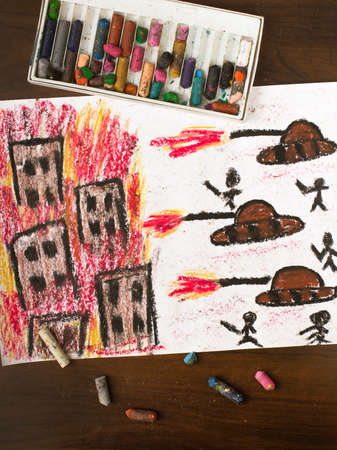 end of the world: colorful drawing: tanks attack