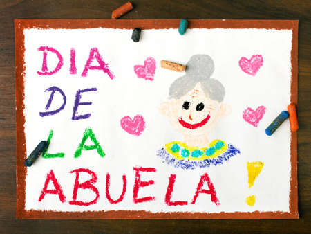 grand parents: Color drawing: grandmothers day card drawn by a Spanish child