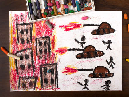 conflagration: colorful drawing: tanks attack