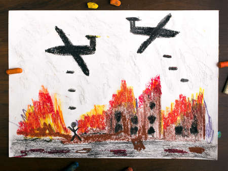 injustice: colorful drawing: bombing raid Stock Photo