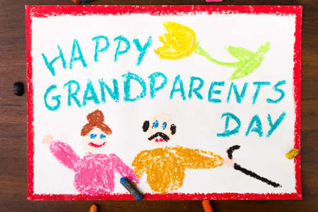 family fun: Colorful drawing: grandparents day card