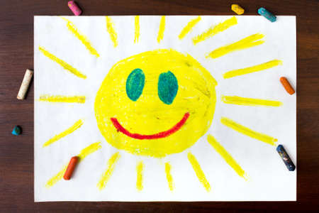 sun shine: colorful drawing: sun with a happy face Stock Photo