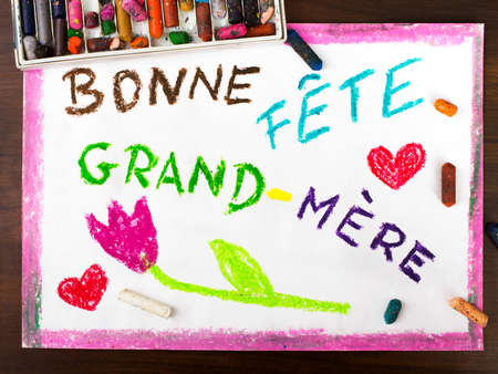 mere: Colorful drawing: grandmothers day card drawn by a French child
