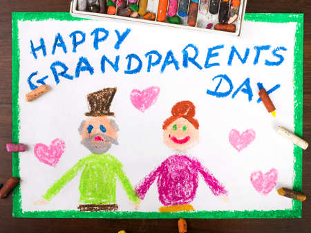 love concepts: Colorful drawing: grandparents day card