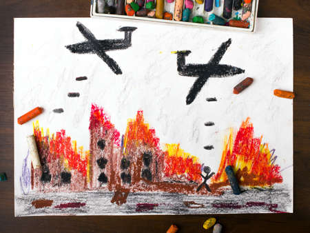 incursion: colorful drawing: bombing raid Stock Photo