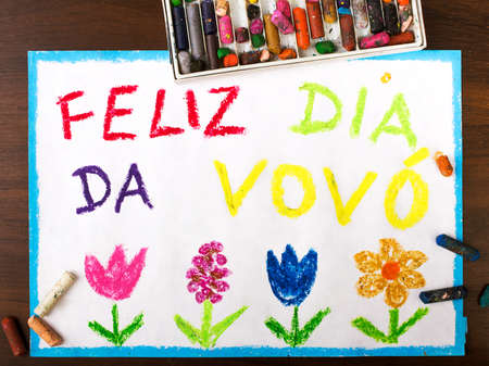 grand parents: Color drawing: grandmothers day card drawn by a Portuguese child