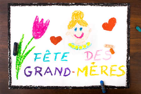 mere: Color drawing: grandmothers day card drawn by a French child