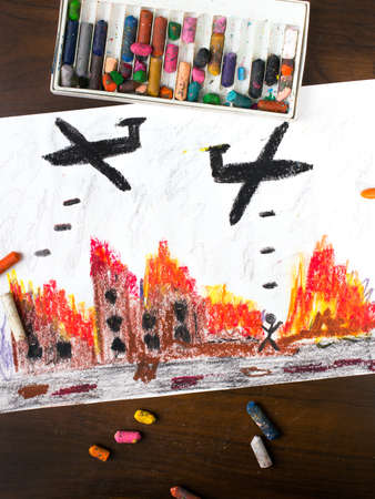 solider: colorful drawing: bombing raid Stock Photo