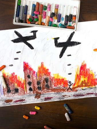 bombing: colorful drawing: bombing raid Stock Photo