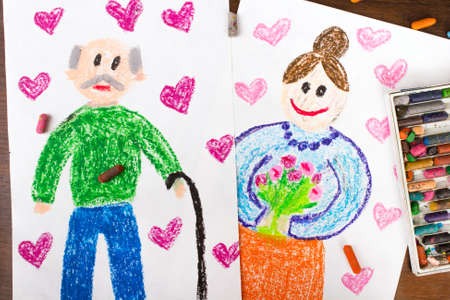 older couple: Colorful drawings: grandparents day cards Stock Photo