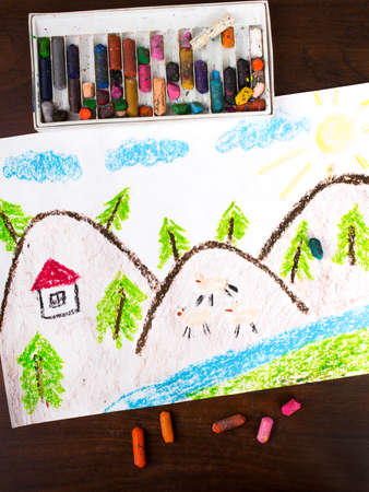 cartoon land: Colorful drawing: mountain landscape