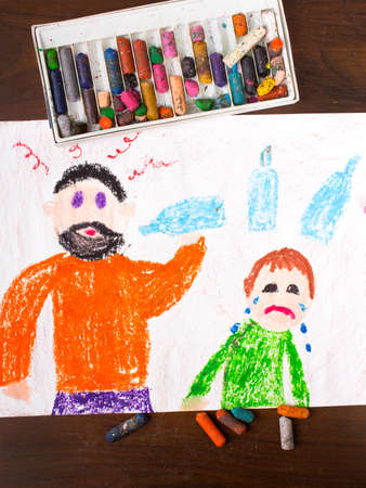 crying child: Colorful drawing: father drinking alcohol and crying child
