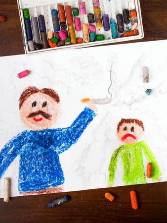 colorful drawing: father smoking a cigarette and sad child